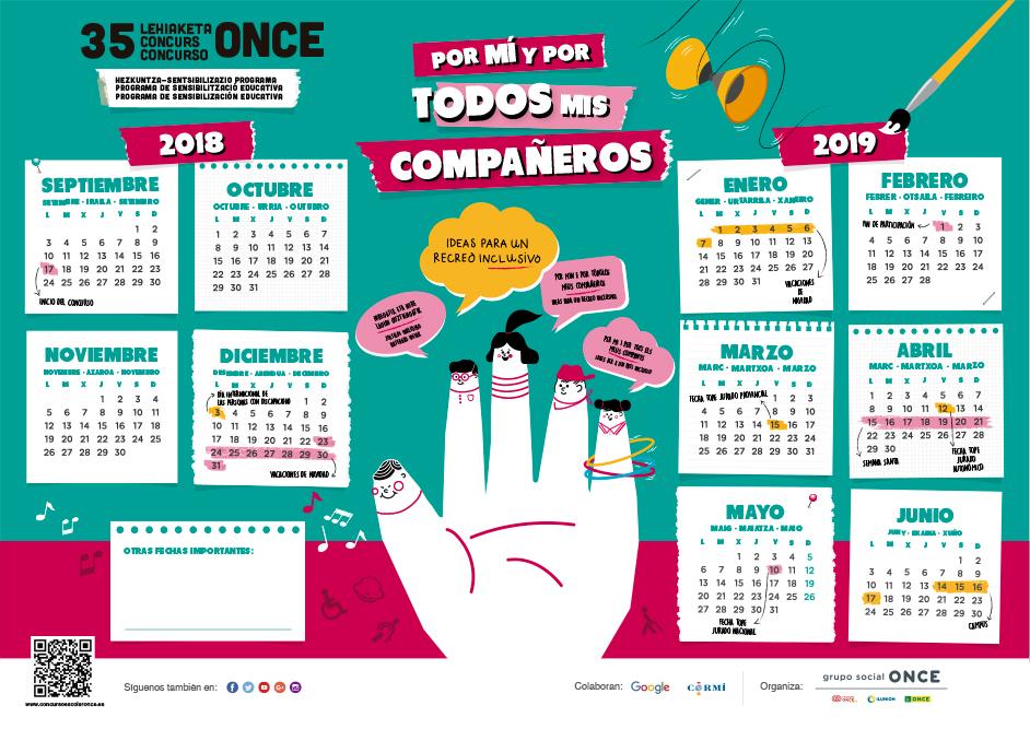 Imagen del calendario descargable del 35 Concurso Escolar ONCE